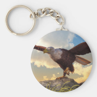 Eagle Taking Flight Basic Round Button Keychain