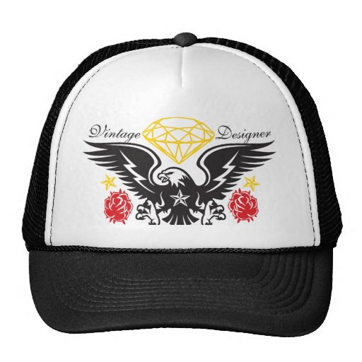 Vintage Hat Tattoos: Eagle Tattoo Diamonds And Roses Vintage Desi Trucker Hat