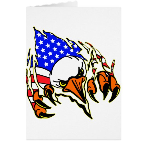 Eagle Tearout W/ American Flag Tattoo Greeting Card