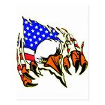 Eagle Tearout W/ American Flag Tattoo Post Card