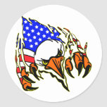 Eagle Tearout W/ American Flag Tattoo Round Sticker