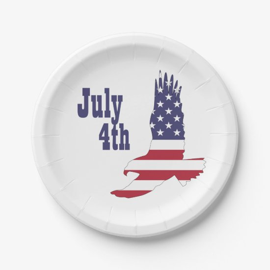 Eagle, USA Flag, 4th of July Paper Plates