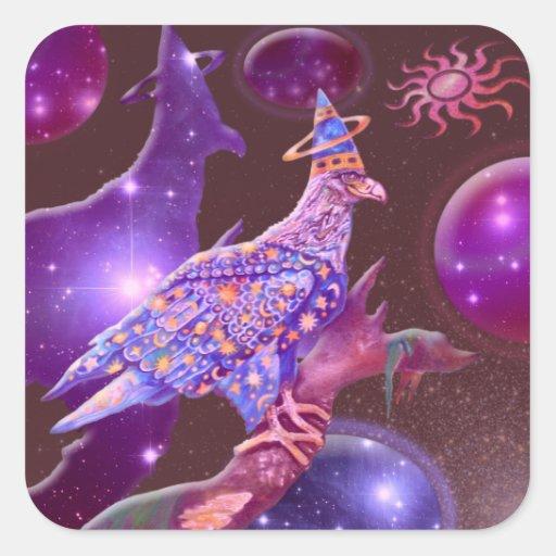 Eagle - vagabundo divino pegatina cuadrada