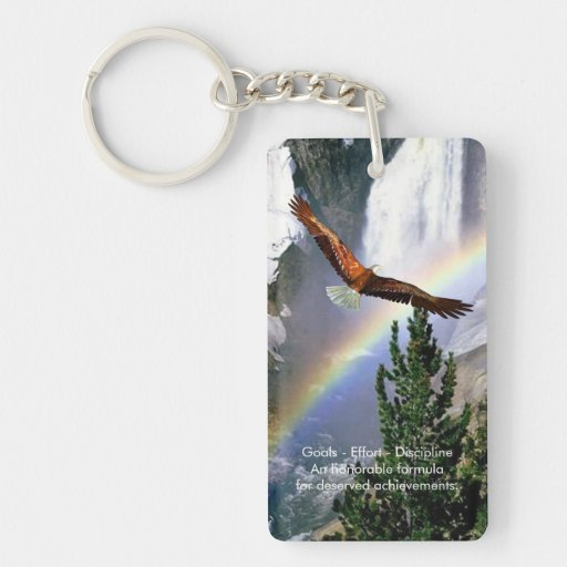 Eagle vuela sobre el arco iris - llavero echado a