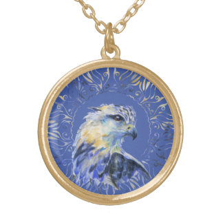 Eagle watercolor illustration gold plated necklace