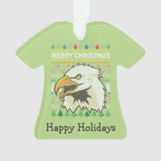 Eagle Wildlife Merry Christmas Ugly Sweater Ornament