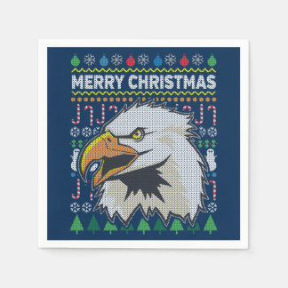 Eagle Wildlife Merry Christmas Ugly Sweater Paper Napkin