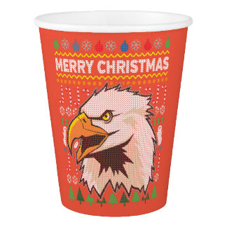 Eagle Wildlife Merry Christmas Ugly Sweater Style Paper Cup