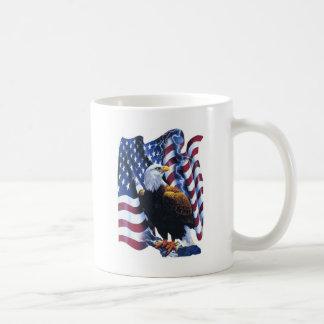 Eagle with American flag Classic White Coffee Mug
