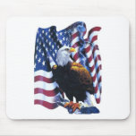 Eagle with American flag Mouse Pad