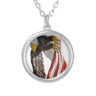 Eagle with flag round pendant necklace