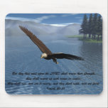 "Eagle with Scripture Mouse Pad<br><div class=""desc"">Eagle with the verse &quot;But they that wait upon the LORD shall renew their strength; they shall mount up with wings as eagles; they shall run,  and not be weary; and they shall walk,  and not faint.&quot; - Isaiah 40:31</div>"