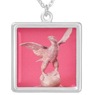 Eagle with spread wings on a ball silver plated necklace