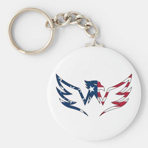 Eagle with Stars & Stripes Keychain