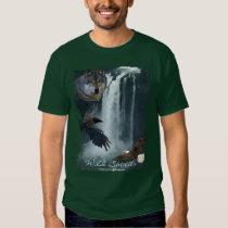 Eagle, Wolf, Raven & Falls Nature Scene T-Shirt