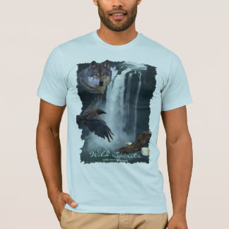 Eagle, Wolf, Raven & Falls Nature Scene T-Shirt