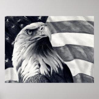 Eagle y arte del poster de la bandera