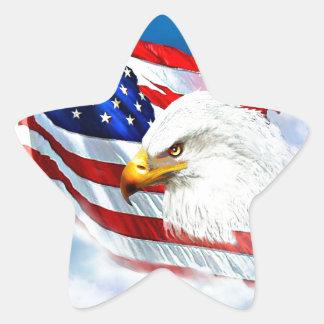 Eagle y bandera americana pegatina en forma de estrella