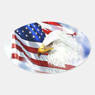 Eagle y bandera americana pegatina ovalada