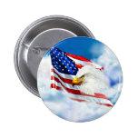 Eagle y bandera americana pin redondo de 2 pulgadas