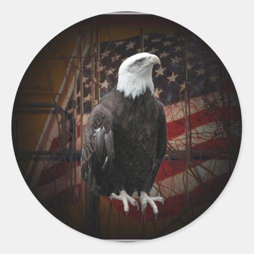 Eagle y bandera apenados alrededor de los pegatina