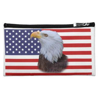 Eagle y bolso accesorio cosmético de la bandera