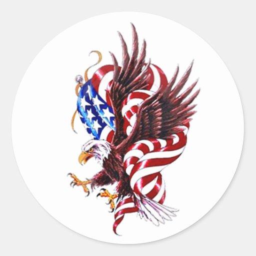 Eagle y estilo del ejemplo de Tatoo de la bandera Etiqueta Redonda