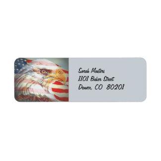 Eagle y etiqueta del remite de la bandera etiquetas de remite