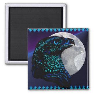 Eagle y Moon_Magnet negros Imán Cuadrado