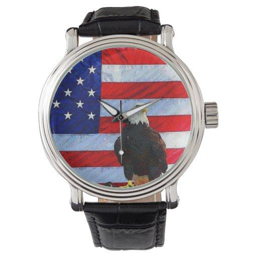 Eagle y reloj de la bandera de los E.E.U.U.