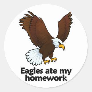 Eagles ate my homework classic round sticker