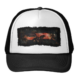 Eagles, Bear, Wolf, US Flag Proud American Trucker Hat