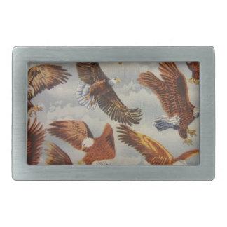 Eagles calvo en vuelo hebillas cinturon rectangulares