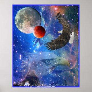 Eagles calvo, espacio, planetas, poster del arte d