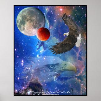 Eagles calvo, espacio y poster del arte de la fant