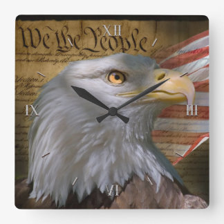 Eagle's Collage Square Wall Clock