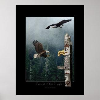 Eagles, Forest & Haida Totem Art Poster
