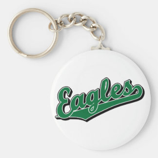 Eagles in Green Basic Round Button Keychain