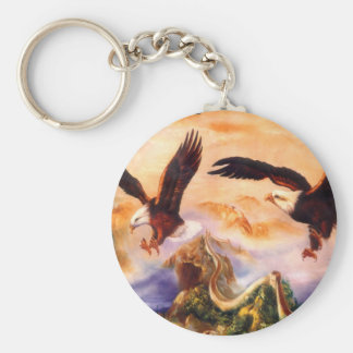 Eagles over the Great wall of China Key Chains