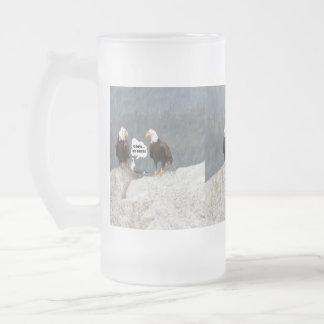 Eagles y gaviota divertidos taza de cristal