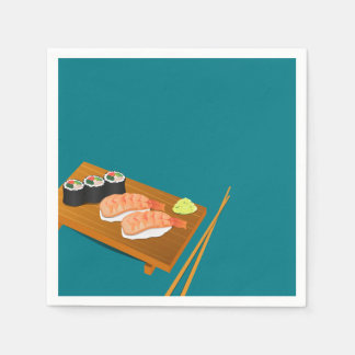 eal Sushi Selection on Wooden Board Napkin