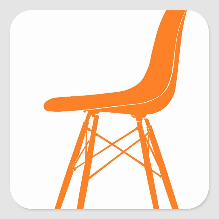 eames molded plastic side chair square sticker zazzle