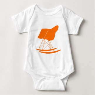 Eames rocker chair in orange baby bodysuit