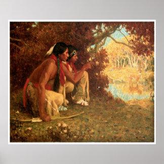 Eanger Irving Couse's Hunting for Deer Poster
