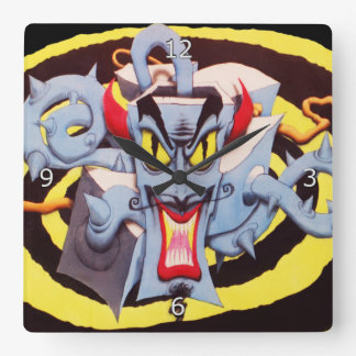 Ear Assaulting Wicked Mad Devil Sound System Square Wall Clock
