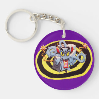 Ear Assaulting Wicked Mad Devil Sound System Double-Sided Round Acrylic Keychain