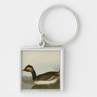 Eared Grebe Silver-Colored Square Keychain