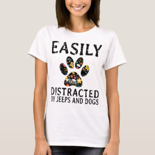 jeep t shirts t shirt design printing zazzle Custom Red Jeep earily distracted by jeep and dogs t shirts