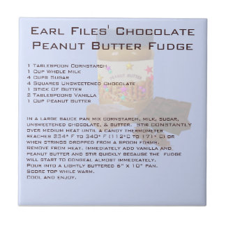 Earl Files' Chocolate Peanut Butter Fudge Ceramic Tile