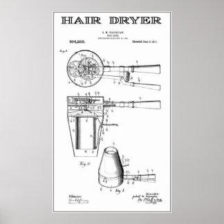 EARLIEST HAIR DRYER PATENT ART 1911 POSTER